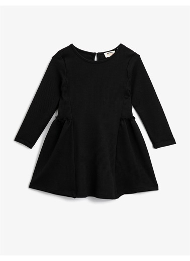 Koton Bisiklet Yaka Uzun Kollu Basic Elbise Siyah
